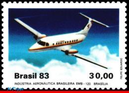 Ref. BR-1876 BRAZIL 1983 PLANES, AVIATION, EMBRAER,EMB-120 BRASILIA,, PASSENGER PLANE, MI# 1992, MNH 1V Sc# 1876 - Brazilië