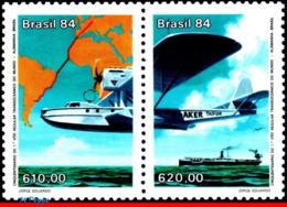 Ref. BR-1925A BRAZIL 1984 PLANES, AVIATION, 1ST FLIGHT GERMANY-BRAZIL, , 50TH ANNIV, SHIPS, MAPS, SET MNH 2V Sc# 1925A - Brazilië