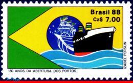 Ref. BR-2126 BRAZIL 1988 SHIPS, BOATS, OPENING OF PORTS TO SHIPS, , 180TH ANNIV., FLAG, MI# 2243, MNH 1V Sc# 2126 - Barche