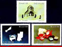 Ref. BR-2153-55 BRAZIL 1988 CHRISTMAS, RELIGION, ORIGAMI ART,, MI# 2271-73, SET MNH 3V Sc# 2153-2155 - Brazilië