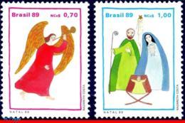 Ref. BR-2215-16 BRAZIL 1989 CHRISTMAS, ANGEL AND HOLY FAMILY,, RELIGION, MI# 2332-33, SET MNH 2V Sc# 2215-16 - Brazilië
