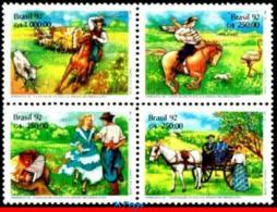 Ref. BR-2355-58 BRAZIL 1992 ANIMALS, FAUNA, PHILATELIC EXHIBITION,, HORSE, COW, DANCE,MI# 2458-61,MNH 4V Sc# 2355-2358 - Brazilië