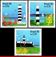 Ref. BR-2550-52 BRAZIL 1995 LIGHTHOUSES, FLOWERS & PLANTS,, BIRDS, MI# 2661-63,MNH 3V Sc# 2550-2552 - Leuchttürme