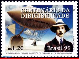 Ref. BR-2716 BRAZIL 1999 PLANES, AVIATION, ZEPPELIN, SANTOS DUMONT,, FAMOUS PEOPLE, MI# 2945, MNH 1V Sc# 2716 - Brazilië