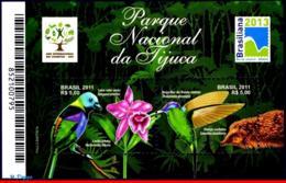 Ref. BR-3174 BRAZIL 2011 FAUNA AND FLORA, TIJUCA NATIONAL PARK,, BIRDS, FLOWERS, HUMMINGBIRD, S/S MNH 2V Sc# 3174 - Colibrì