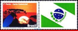 Ref. BR-3203-2 BRAZIL 2011 ANIMALS, FAUNA, DAWN PARANA, BLUE JACKDAW, , BIRDS, FLAG, PERSONALIZED MNH 1V Sc# 3203 - Brasilien