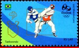 Ref. BR-3318Q BRAZIL 2015 SPORTS, OLYMPIC GAMES, RIO 2016,, TAEKWONDO, STAMP OF 4TH SHEET, MNH 1V Sc# 3318Q - Sommer 2016: Rio De Janeiro