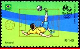 Ref. BR-3318W BRAZIL 2015 SPORTS, OLYMPIC GAMES, RIO 2016,, FOOTBALL/SOCCER, STAMP OF 4TH SHEET, MNH 1V Sc# 3318W - Sommer 2016: Rio De Janeiro