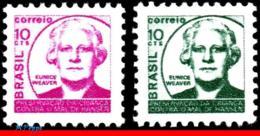 Ref. BR-RA16-17 BRAZIL 1973 HEALTH, 1971 EUNICE WEAVER,, HANSEN DISEASE, LEPROSY, MI# Z17-Z18,MNH 2V Sc# RA16-RA17 - Brasile