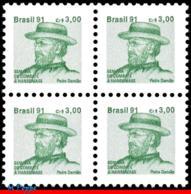Ref. BR-RA27-Q BRAZIL 1991 HEALTH, HANSEN DISEASE, LEPROSY,, HANSENIASIS,FR.JOSEPH DAMIEN,MI# Z28,MNH 4V Sc# RA27 - Ungebraucht