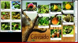 Ref. BR-V2016-18-2 BRAZIL 2016 FRUITS, FRUITS OF CERRADO,PLANTS,, SET OF SHEET AND MINI SHEET MNH 15V - Blocs-feuillets