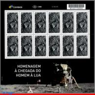 Ref. BR-V2019-13-F BRAZIL 2019 SPACE EXPLORATION, TRIBUTE TO LUNAR LANDING, MISSION, MOON, APOLLO 11, SHEET MNH 12V - Blocks & Sheetlets