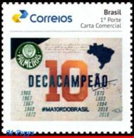 Ref. BR-V2019-50 BRAZIL 2019 FOOTBALL SOCCER, 10TH PALMEIRAS, CHAMPIONSHIP, FAMOUS CLUBS, SPORT, MNH 1V - Brasile