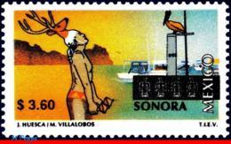 Ref. MX-1971 MEXICO 1999 CITIES, TOURISM SONORA, BIRDS,, SHIPS, BOATS, FOLKLORE, (3.60P), MNH 1V Sc# 1971 - Kostüme