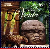 Ref. MX-2608 MEXICO 2008 ARCHAEOLOGY, LA VENTA PARK MUSEUM,, SCULPTURE, OUNCE, MNH 1V Sc# 2608 - Raubkatzen