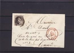 N° 6 Margé / Fragment De TERMONDE Vers GAND 27 Mai 1856 Date Interressante - 1851-1857 Médaillons (6/8)
