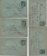 LOT DE 5 ENVELOPPES ENTIER 5centimes    TYPE SAGE    VOIR LE SCAN - Postal Stamped Stationery