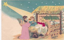 CP BRODEE- Crèche-Petit Jésus-Ange-Boeuf-Etoile Filante-Vêtements En Tissus-Dopisnice-Postkarte-Levelzo-Lap -(19/1/20) - Noël