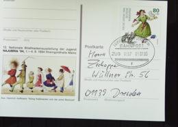 BRD: Bild-Karte Mit 80 Pf Paulinchen Und Bahnpost-Stpl LEIPZIG - FRANKFURT (MAIN) ZUG 0657 Vom 1.7.95 Knr: 1726 - [7] Federal Republic