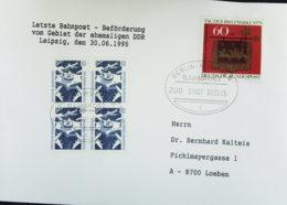 BRD: Bahnpost LEIPZIG - MÜNCHEN ZUG 01907 Letzte Beförderung Mit Bahnpost Vom Gebiet Der Ehem. DDR Vom 30.6.95 - [7] Federal Republic