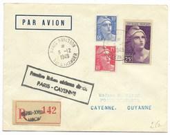 1er Vol PARIS-CAYENNE - PARIS AVIATION Sce ETRANGER 6.12.1949 / N°723.731.813 Recommandé... - Storia Postale
