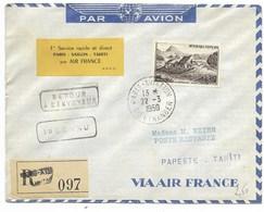 1er Vol PARIS-SAÏGON-TAHITI Par AIR-FRANCE - PARIS-AVIATION Sce ETRANGER 22.3.1950 / N°843 Recommandé... - Storia Postale