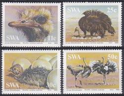 Südwestafrika SWA Namibia 1985 Tiere Fauna Animals Vögel Birds Oiseaux Aves Uccelli Strauß Ostrich, Mi. 566-9 ** - África Del Sudoeste (1923-1990)