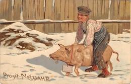CPA Fantaiise Glacée Cochon Prosit Neujahr - Maiali
