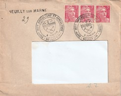 1946 -Enveloppe Lettre - EXPOSITION INTERNATIONALE AVICULTURE & APICULTURE Neuilly -  Pour Elbeuf - Yvert & Tellier  716 - Cachets Commémoratifs
