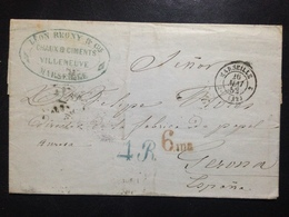 France, Pre-Philately, Circulated Cover From Marseille To Gerona, 1852 - 1853-1860 Napoléon III