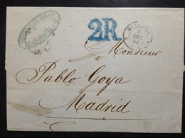 France, Pre-Philately, Circulated Cover From Marseille To Madrid, 1858 - 1853-1860 Napoléon III
