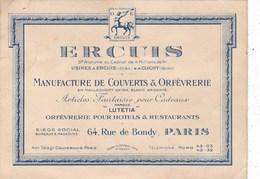 Carte Publicitaire  13cm X 9,5cm.    De La  MANUFACTURE  DE  COUVERTS  &  ORFEVRERIE   ERCUIS.  PARIS. - Frankrijk