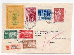 1955 YUGOSLAVIA, CROATIA, ZAGREB TO HELSINKI, FINLAND, JUFIZ POSTER STAMP - 1945-1992 Socialist Federal Republic Of Yugoslavia