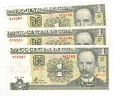 Cuba 1 Peso 2004 ,  X3  CONSEC. UNC. - Cuba