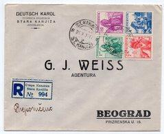 1937 YUGOSLAVIA, SERBIA, STARA KANJIZA TO BELGRADE, SET FROM BOCK NUMBER 1 ON REGISTERED COVER - Cartas