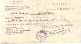 CARTE D'IDENTITE - 16è REGION- GIRONDE -LA REOLE  JUILLET 1940 - Documenten
