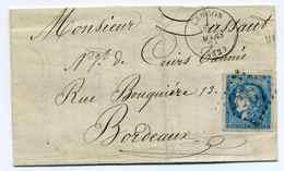 YT N°45 Seul Sur Lettre LANGON / Dept De La Gironde / Mars 1871 / Pour Bordeaux - Marcophilie (Lettres)