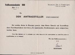 Feldkommandantur 560 - Rejet De Demande De Laisser-passer - Storia Postale
