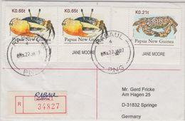 Papua New Guinea - Rabaul 22.1.97 Einschreibebrief Label Goroka Krabben - Papouasie-Nouvelle-Guinée
