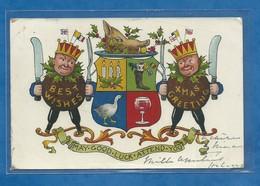 CPA Best Wishes Festin Des Rois De L' Épiphanie Blason Houx Tête De Cochon Couronne Avec Drapeaux London 1909 - Nouvel An