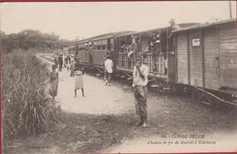 Belgisch Congo Belge Carte RARE Chemin De Fer De Matadi A Kinshassa Natives Train Trein Animee CPA (En Très Bon état) - Congo Belge - Autres