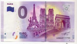 2017-3B BILLET TOURISTIQUE 0 EURO SOUVENIR N°UEBU013094 PARIS Verso TOUR BELEM - Essais Privés / Non-officiels