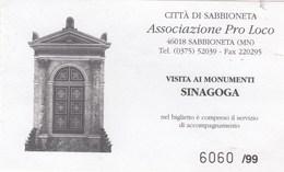 BIGLIETTO D INGRESSO-   SINAGOGA DI SABBIONETA- - Toegangskaarten