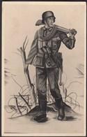 AK NS Militaria Propaganda Karte 3.Reich Soldat Mit MP  (24461 - Militaria