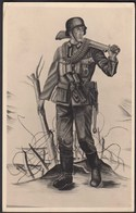 AK NS Militaria Propaganda Karte 3.Reich Soldat Mit MP  (24461 - Unclassified