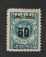 Memel 1923 Under Lithuanian Occupation 50c On 1000m Scott # N58, VF Mint Hinged*OG (OLG-1) - Lithuania