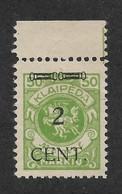 Memel 1923 Under Lithuanian Occupation 2c On 50m Scott # N52, VF Mint NH** No Gum !! (OLG-1) - Lithuania