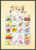 2012 CHINA 10 Flowers Greeting SHEETLET - Blocs-feuillets
