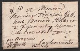 """L. Datée 12 Juillet 1741 De WEISSAND Pour INGELMUNSTER COURTRAY -  Man. """"par Bruxelles / Frankfurt"""" - Port """"4"""" Barré """"10 - 1714-1794 (Pays-Bas Autrichiens)"""