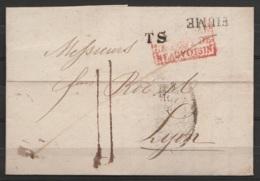 """L. Datée 15 Janvier 1835 De FIUME Pour LYON - Griffe """"FIUME"""" + """"T.S"""" + Encadr. [Italie / PLE PONT DE BEAUVOISIN] - Port - Postmark Collection (Covers)"""
